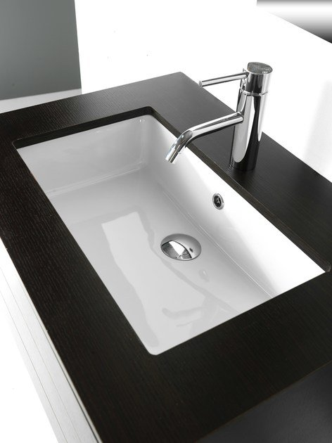 Undermount rectangular ceramic washbasin BP005 | Washbasin by BLEU PROVENCE