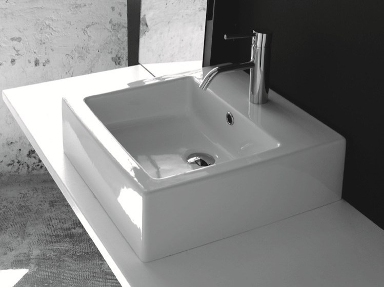 Countertop rectangular ceramic washbasin with overflow BP029 | Washbasin by BLEU PROVENCE