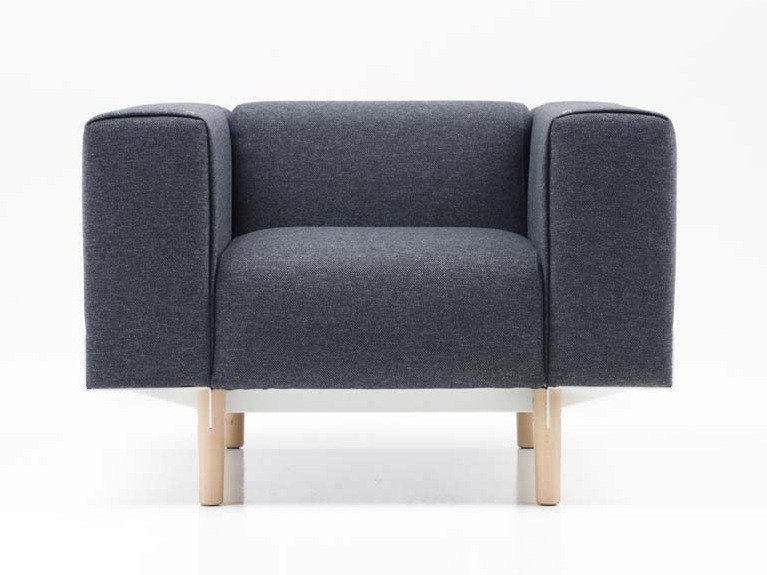 Fabric armchair with armrests BREAD | Armchair by Diemme