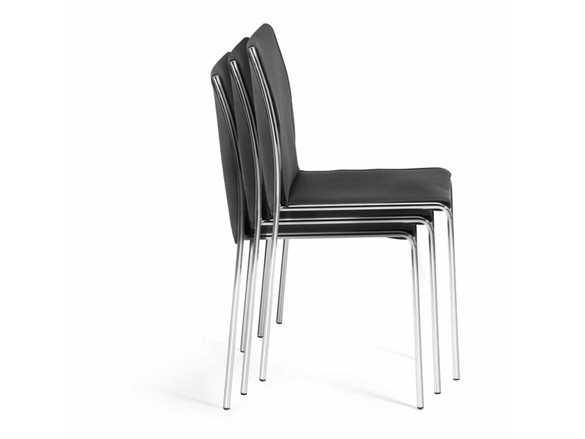 Upholstered stackable chair with removable cover BREDA by Trevisan Asolo