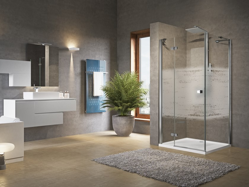 Corner shower cabin with hinged door and side panel BRERA G+F by NOVELLINI