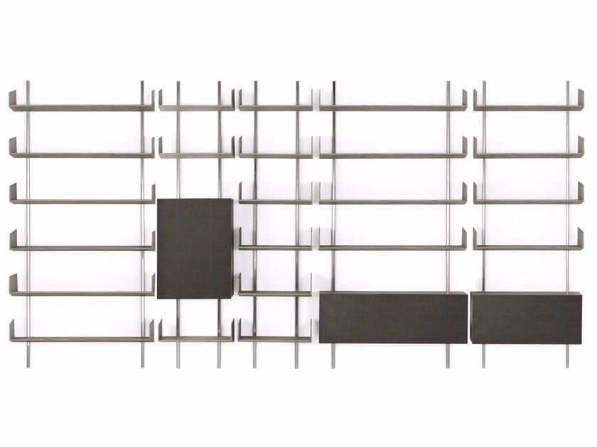Wall-mounted modular wooden bookcase BRERA by Gallotti&Radice
