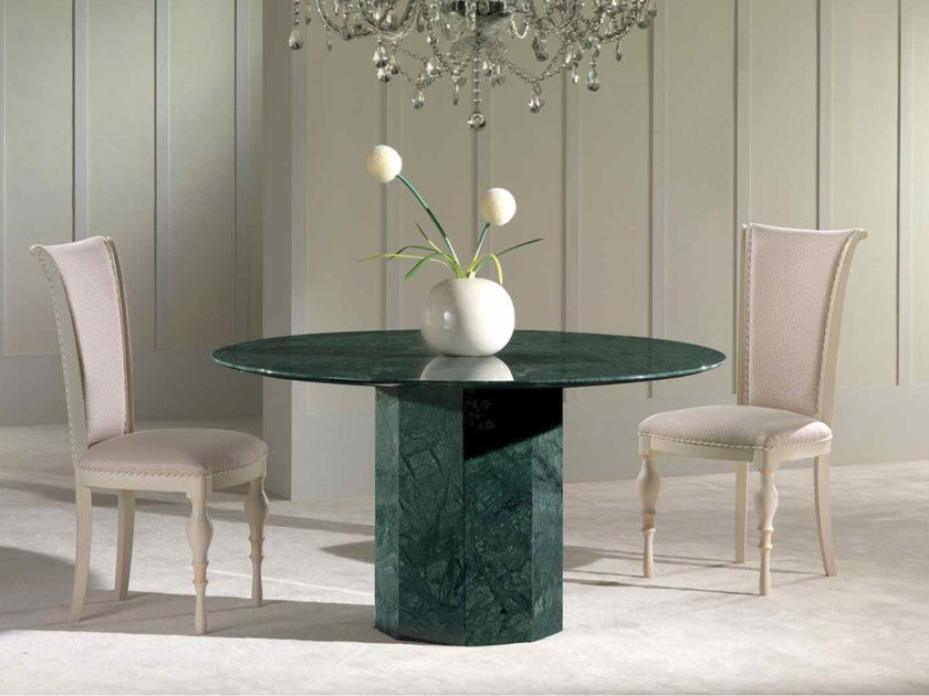 Round Green Guatemala marble table BRERA by International Marmi