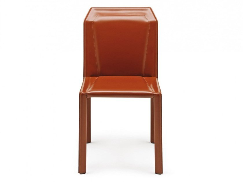 Tanned leather chair BRERA by MisuraEmme