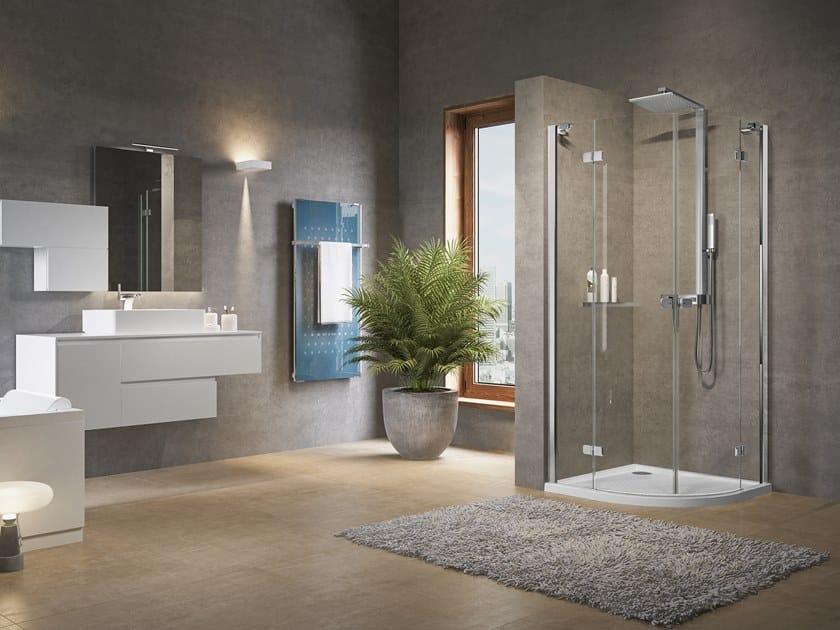 Box doccia angolare semicircolare con porta a battente BRERA R by NOVELLINI