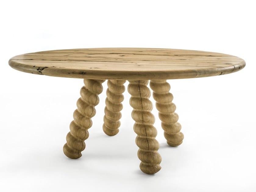 Round briccola wood table BRIC by Riva 1920