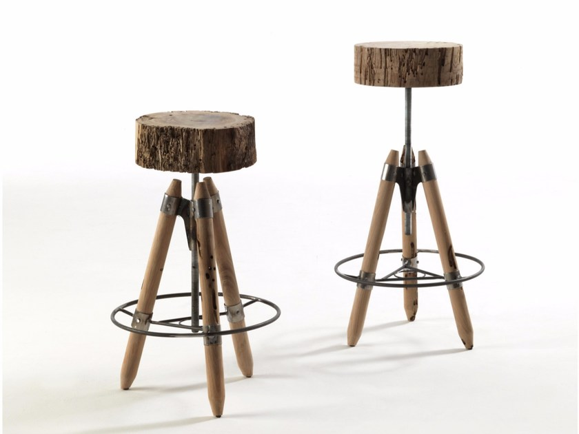 Briccola wood stool BRICHELLO by Riva 1920