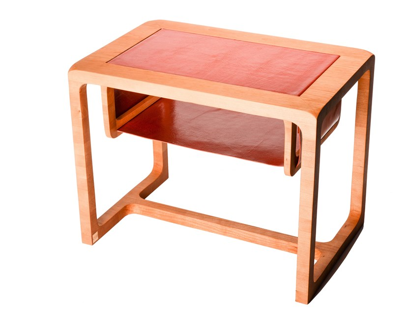 Cherry wood and leather side table BRICK BY BRICK by Atelier C.U.B