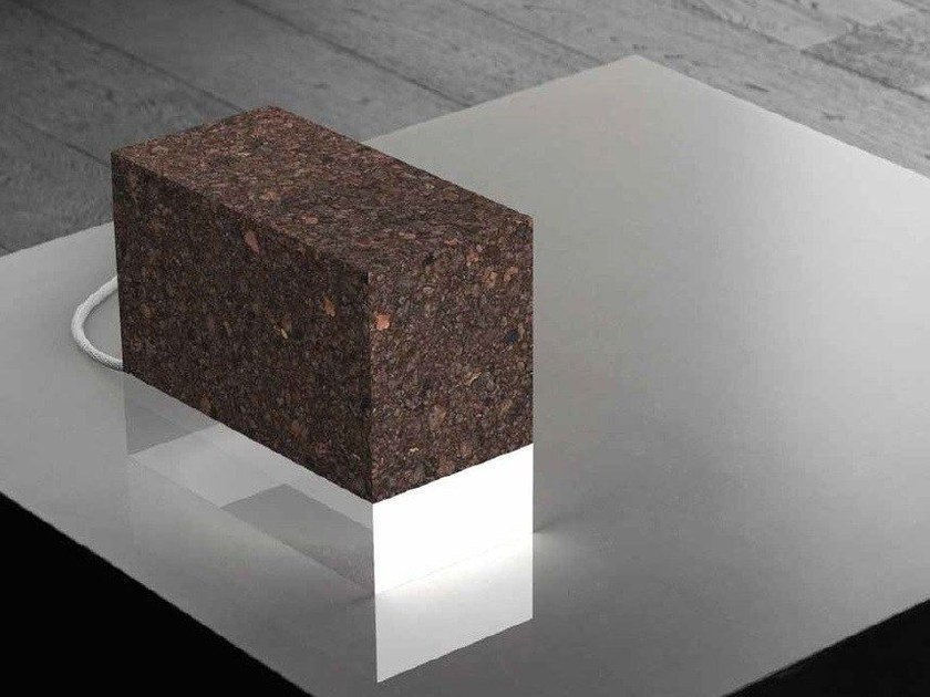 Indirect light cork table lamp BRICK by Exporlux