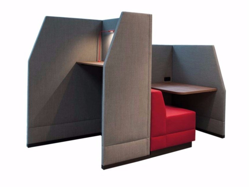 Acoustic fabric office booth BRICKS WALL CUBICLE LOW by Palau