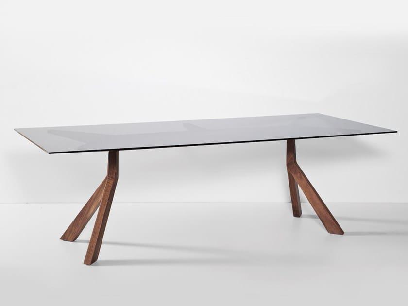 Rectangular glass table BRIDGE | Glass table by Hemonides