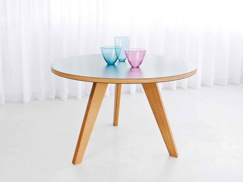 Round wooden table BRIDGE ORBIT by Morgen