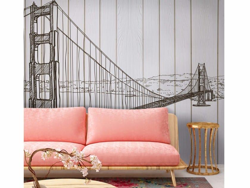 Adhesive washable landscape wallpaper BRIDGE by Wall LCA