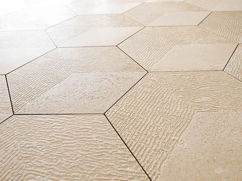 Trani stone wall/floor tiles BRIGHT HEXAGON by Lithos Mosaico Italia