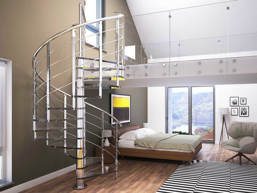 Glass and Stainless Steel Spiral staircase BRILLIA by RINTAL