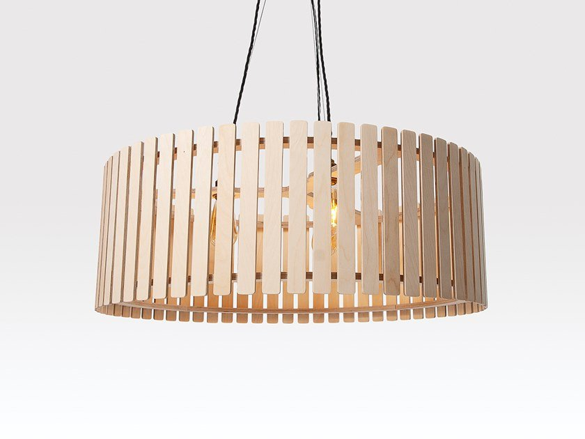 Plywood pendant lamp BRIXHAM LARGE DRUM by Liqui Contracts