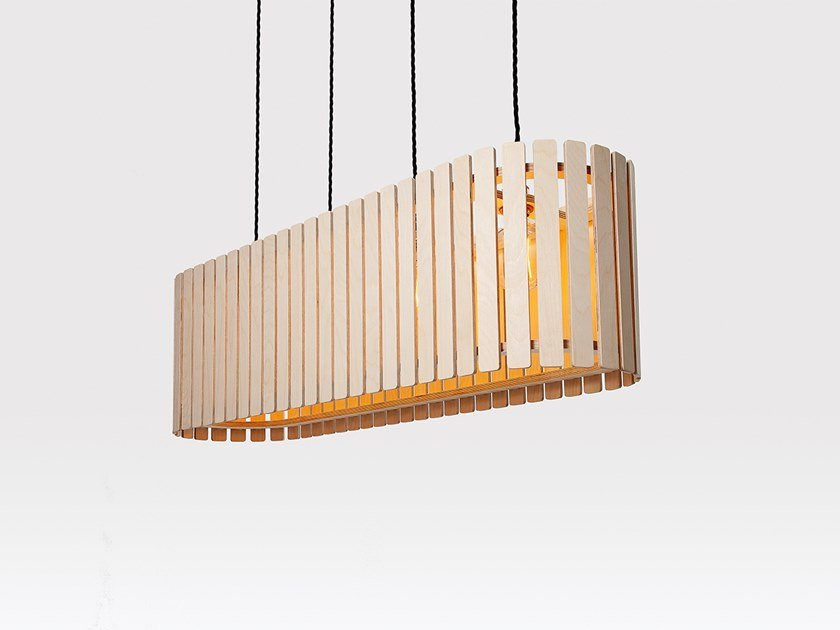 Plywood pendant lamp BRIXHAM MEDIUM LONG DRUM by Liqui Contracts