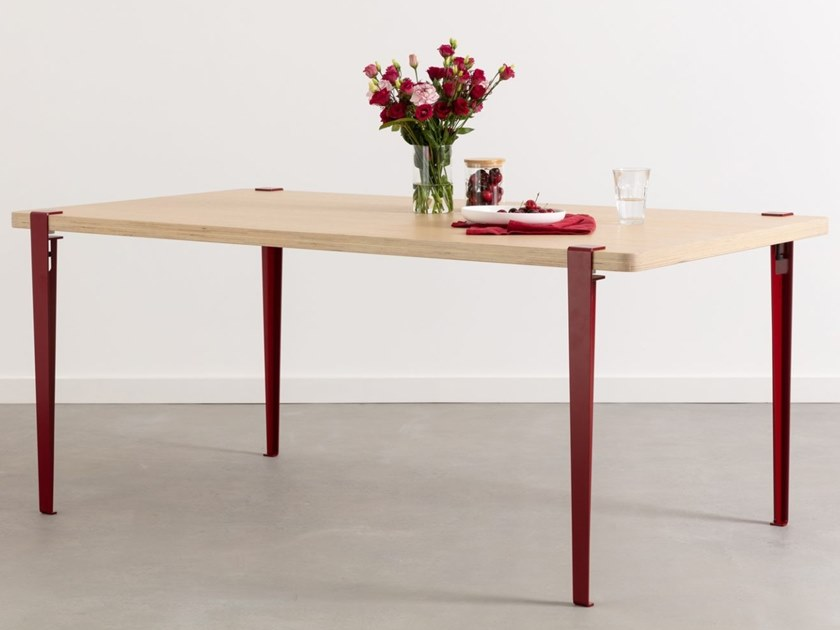 Rectangular Steel And Wood Table Brixton By Tiptoe