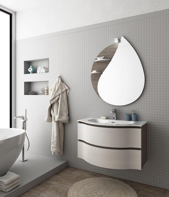 Wall-mounted vanity unit with drawers BROADWAY B1 by LEGNOBAGNO