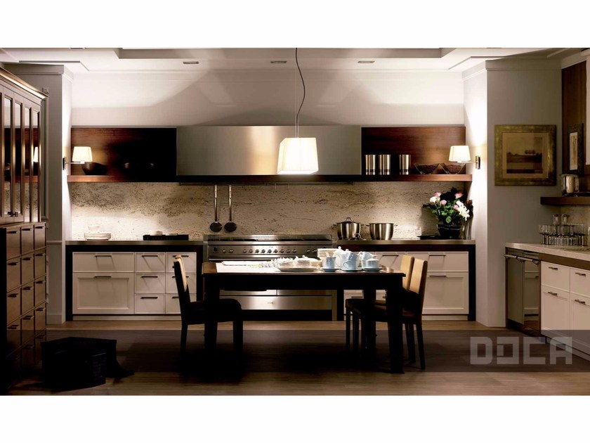 Kitchen with handles BROCANT NOGAL VELHO / BORNO GRIS PERLA by Doca