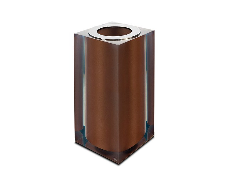 Bronze Gloss Small Bathroom Waste Bin Collection By Vallvé
