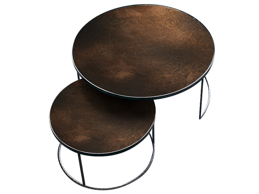 Round coffee table BRONZE NESTING COFFEE TABLE SET by Notre Monde
