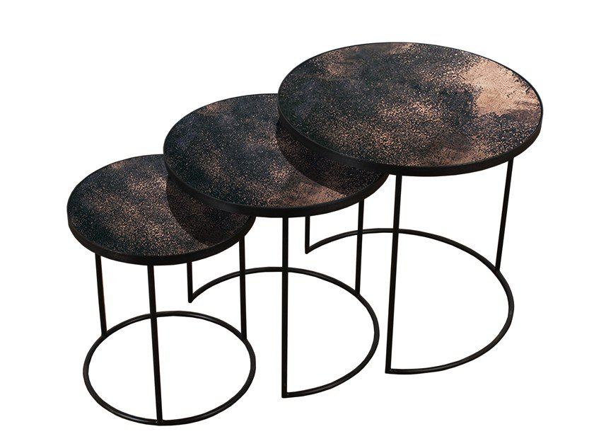 Round Mirrored Glass Side Table BRONZE NESTING SIDE TABLE SET   3 By Notre  Monde