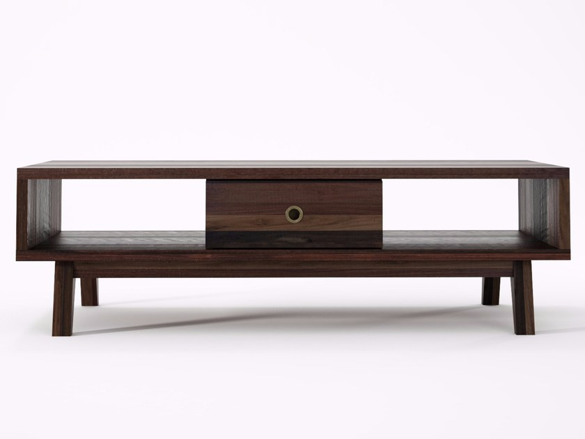 Rectangular wooden coffee table with integrated magazine rack for living room BROOKLYN BF05-MH by KARPENTER