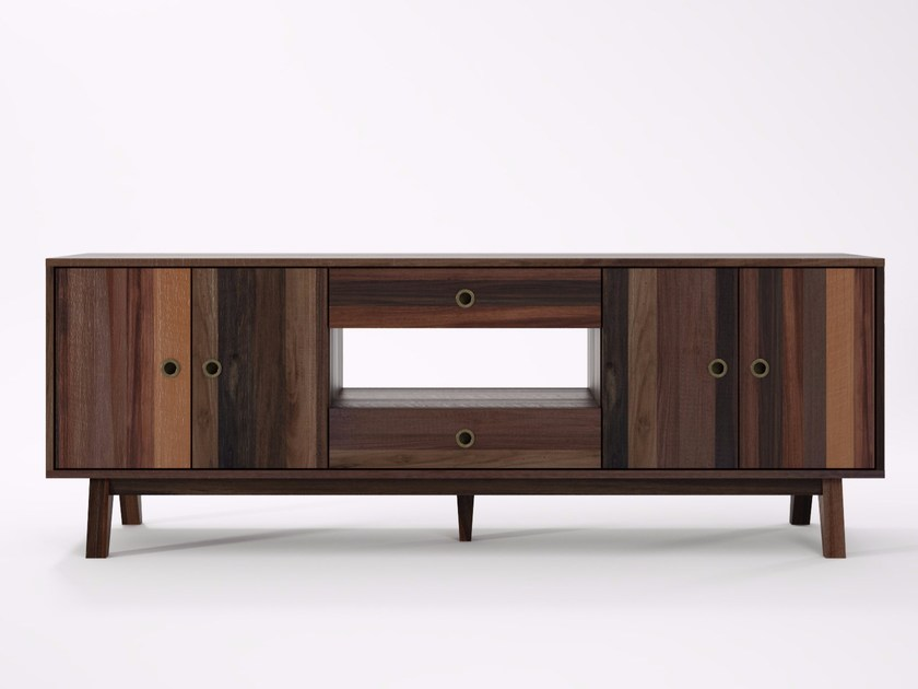 Reclaimed wood sideboard with doors with drawers BROOKLYN BF15-MH by KARPENTER