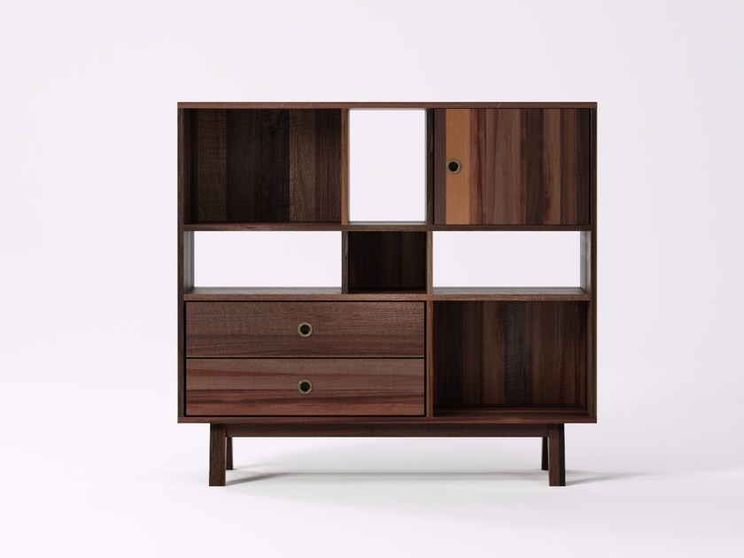 Freestanding reclaimed wood bookcase BROOKLYN BF20-MH by KARPENTER