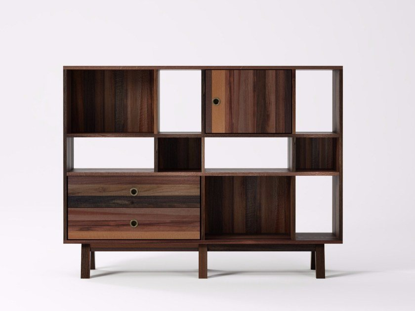 Freestanding reclaimed wood bookcase BROOKLYN BF23-MH by KARPENTER