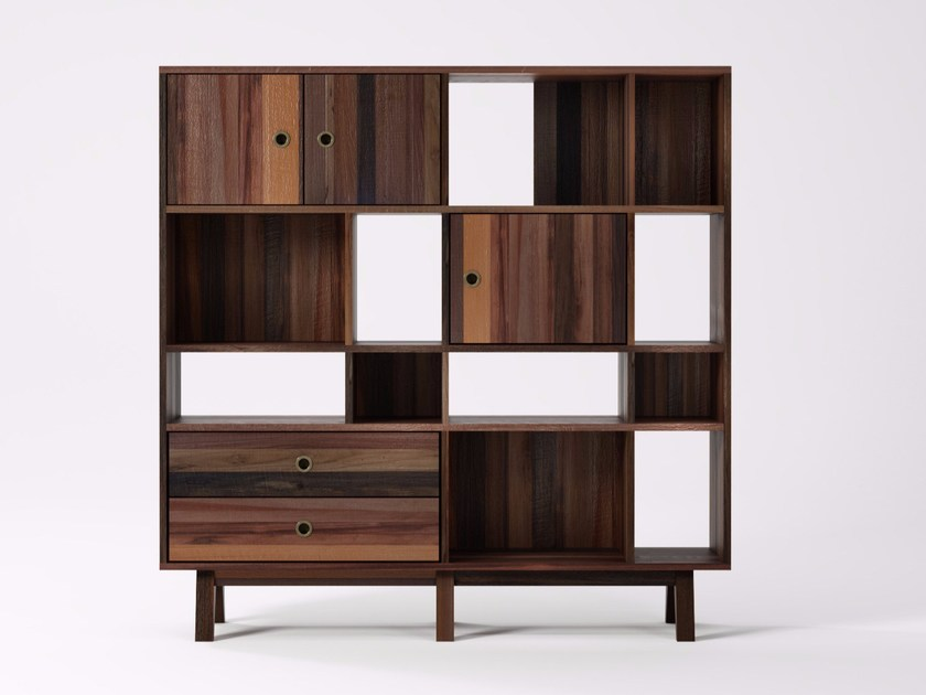 Freestanding reclaimed wood bookcase BROOKLYN BF24-MH by KARPENTER