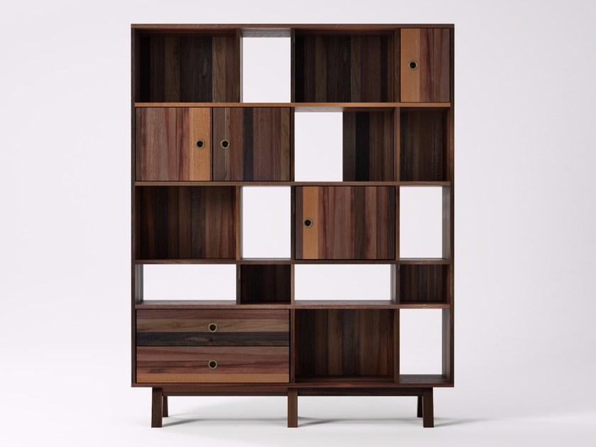 Freestanding double-sided reclaimed wood bookcase with drawers BROOKLYN BF25-MH by KARPENTER