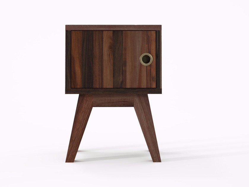 Square reclaimed wood bedside table BROOKLYN BF29-MH by KARPENTER