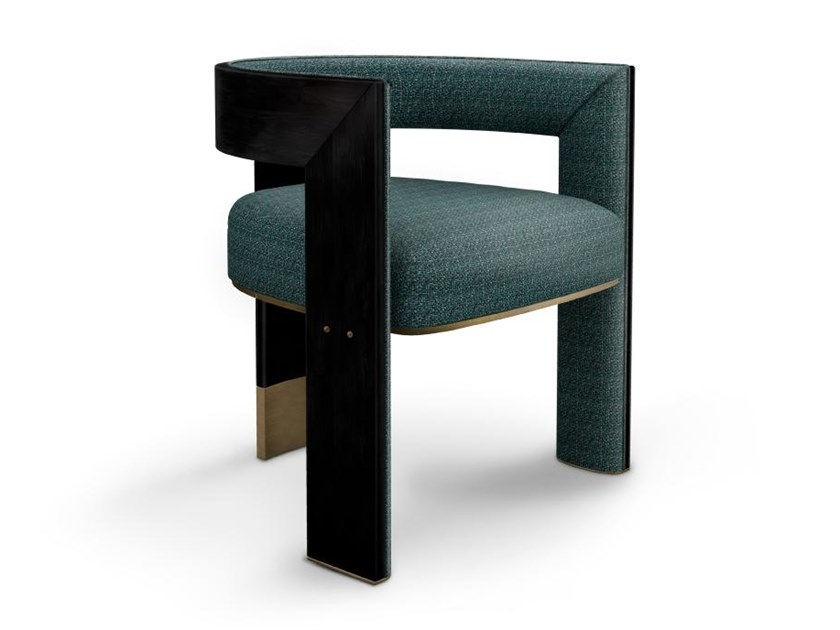 Upholstered fabric chair with armrests BROOKLYN by Porustudio