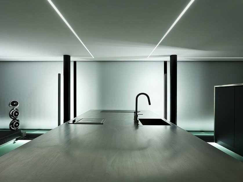 Ceiling mounted extruded aluminium Linear lighting profile BROOKLYN TRIM by PANZERI