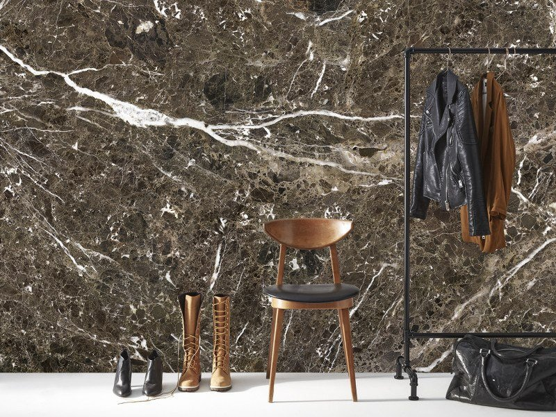 Washable panoramic wallpaper with marble effect BROWN EMPERADOR MARBLE | Panoramic wallpaper by Koziel