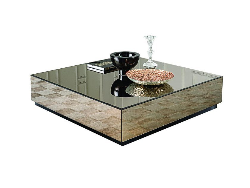 Low Square Mirrored Gl Coffee Table Bryant By Casamilano