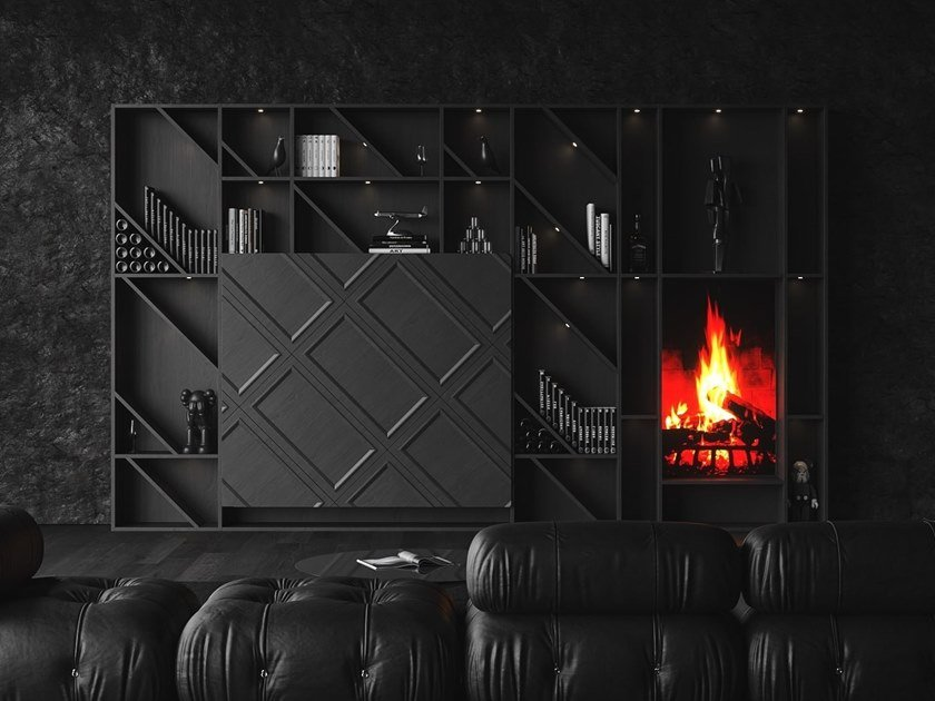 Freestanding wooden storage wall with fireplace BT45 THE WALL by BT45