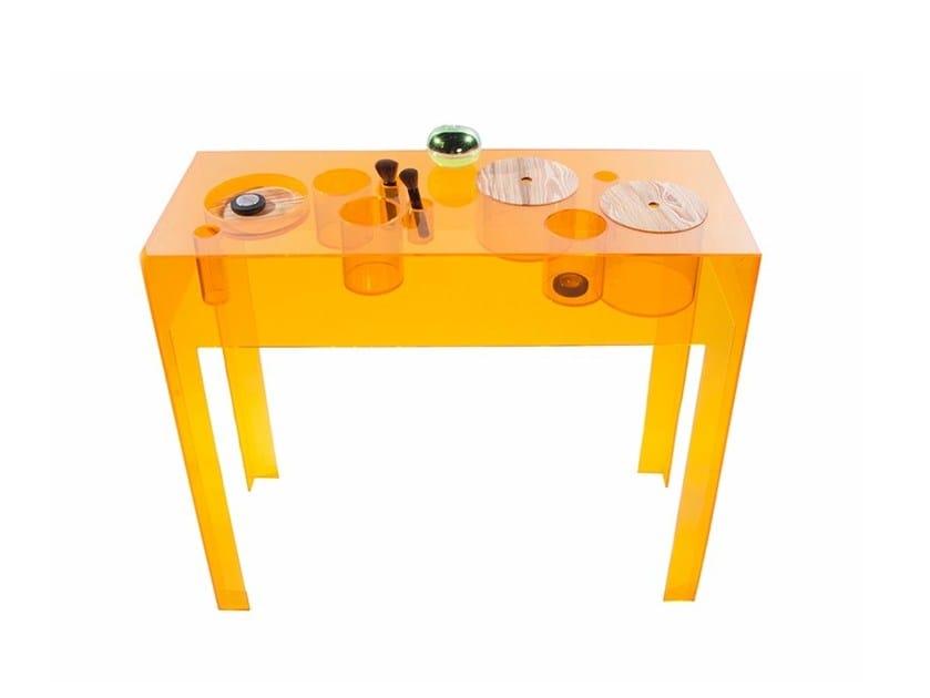 Rectangular acrylic console table BUBBLES by Natalia Geci