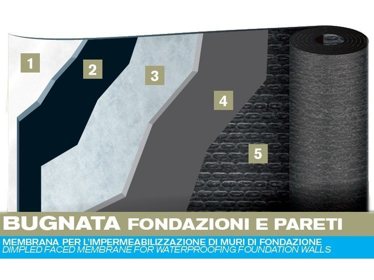 Sheaths for foundation and earth retaining wall BUGNATA FOR FOUNDATIONS AND WALLS by PLUVITEC