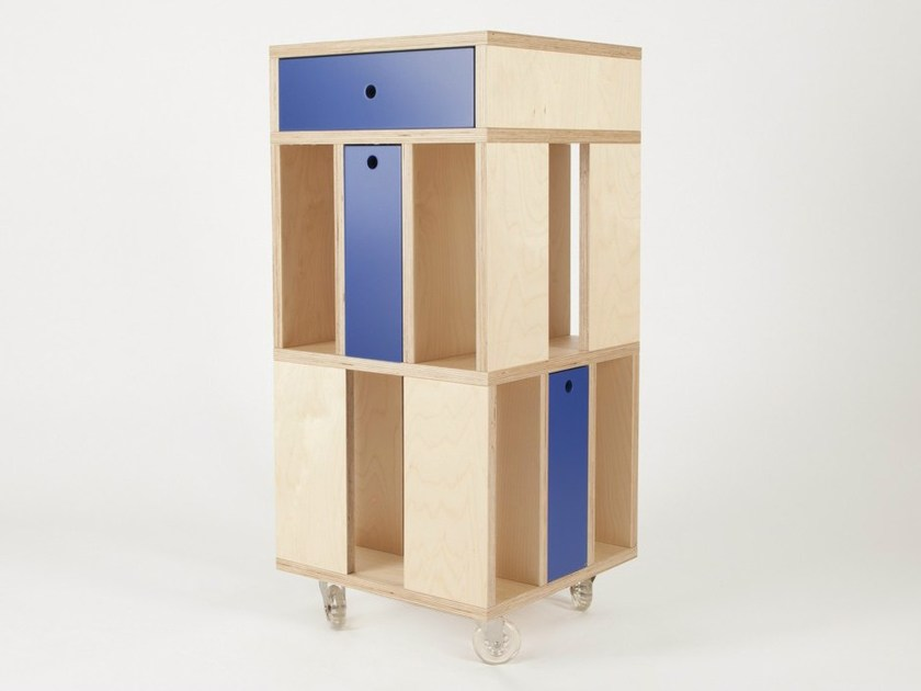 Storage unit with drawers with casters BUILDING 3M   Storage unit by MALHERBE EDITION