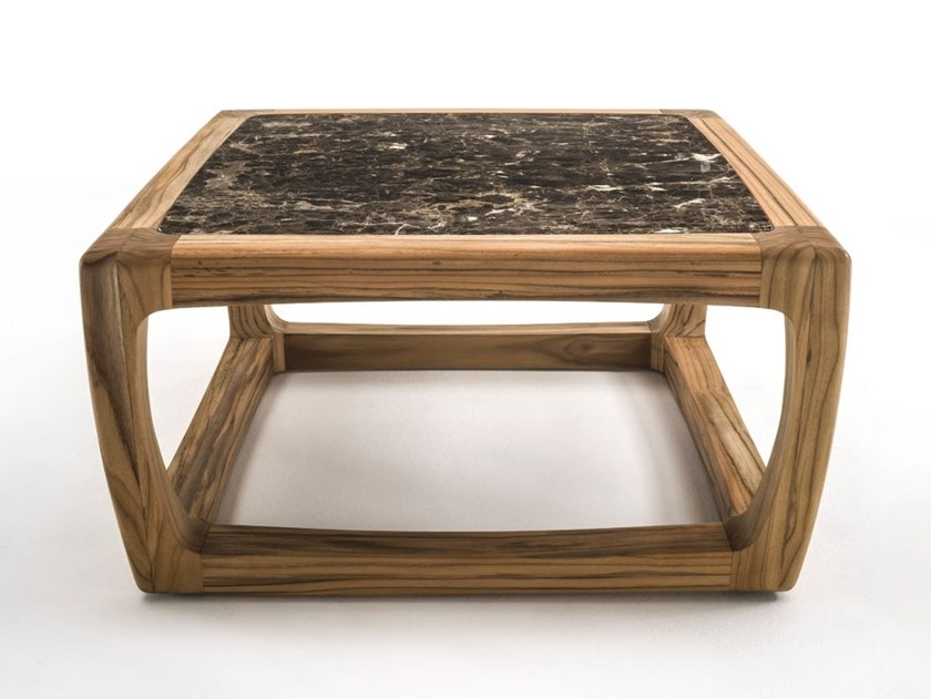 Square teak and Dark Emperador marble coffee table BUNGALOW   Coffee table by Riva 1920