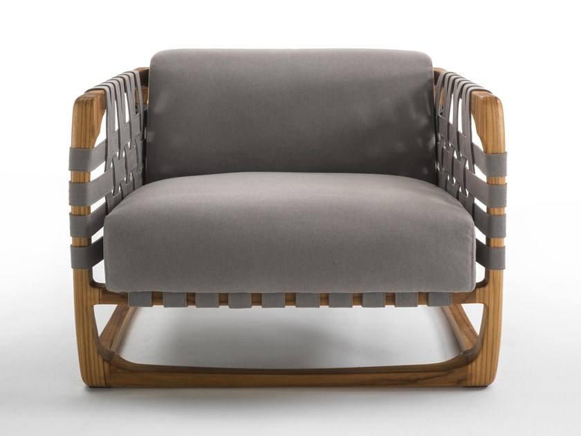 Upholstered fabric garden armchair with armrests BUNGALOW | Garden armchair by Riva 1920