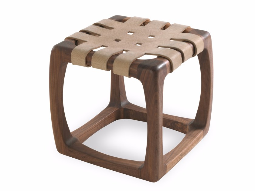 Low wooden and leather stool BUNGALOW | Stool by Riva 1920