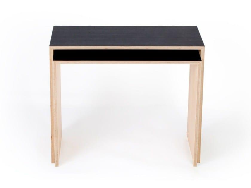 Rectangular multi-layer wood writing desk BUROS by MALHERBE EDITION