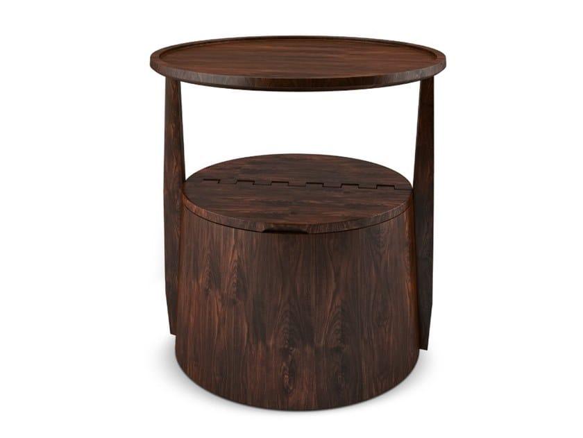 Round walnut coffee table with storage space BURTON by Wood Tailors Club