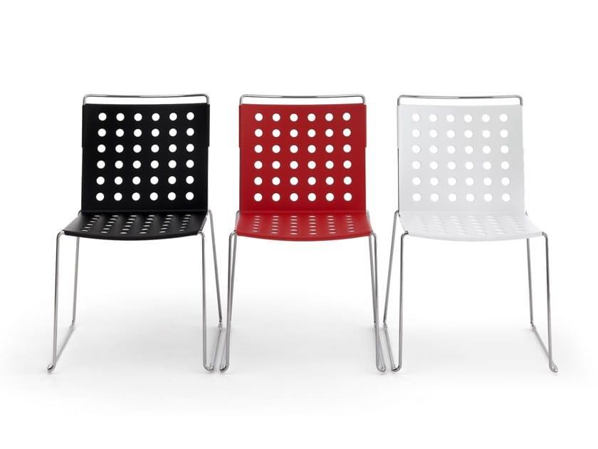 Sled base aluminium chair BUSY | Chair by Diemmebi