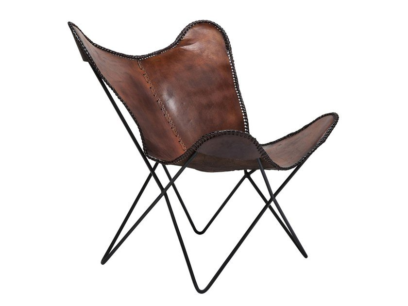 Contemporary style leather armchair BUTTERFLY BROWN ECO by KARE-DESIGN