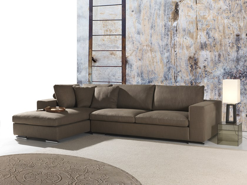 Fabric sofa with chaise longue BUTTERFLY by Flexstyle